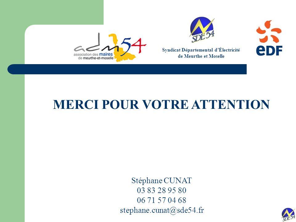 Syndicat Départemental d'Électricité MERCI POUR VOTRE ATTENTION