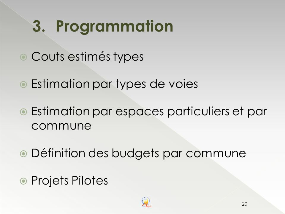 Programmation Couts estimés types Estimation par types de voies
