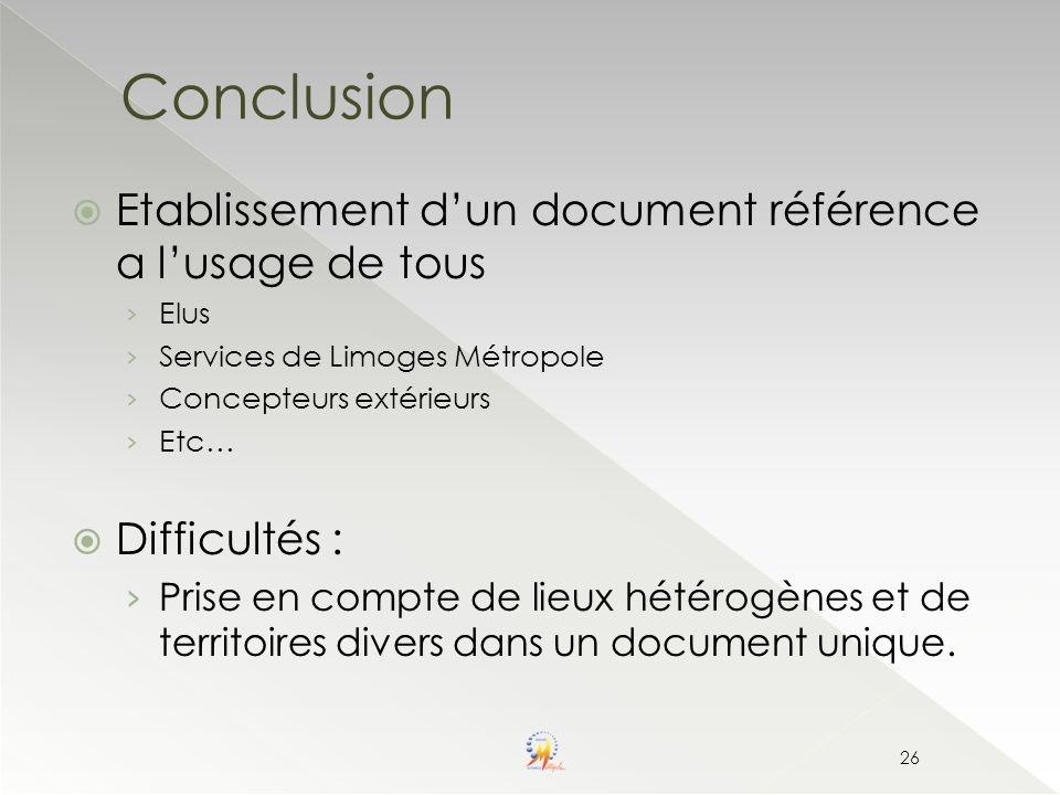 Conclusion Etablissement d'un document référence a l'usage de tous