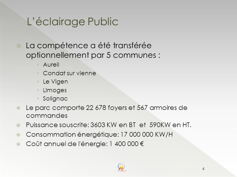 30/03/2017 L'éclairage Public. La compétence a été transférée optionnellement par 5 communes : Aureil.