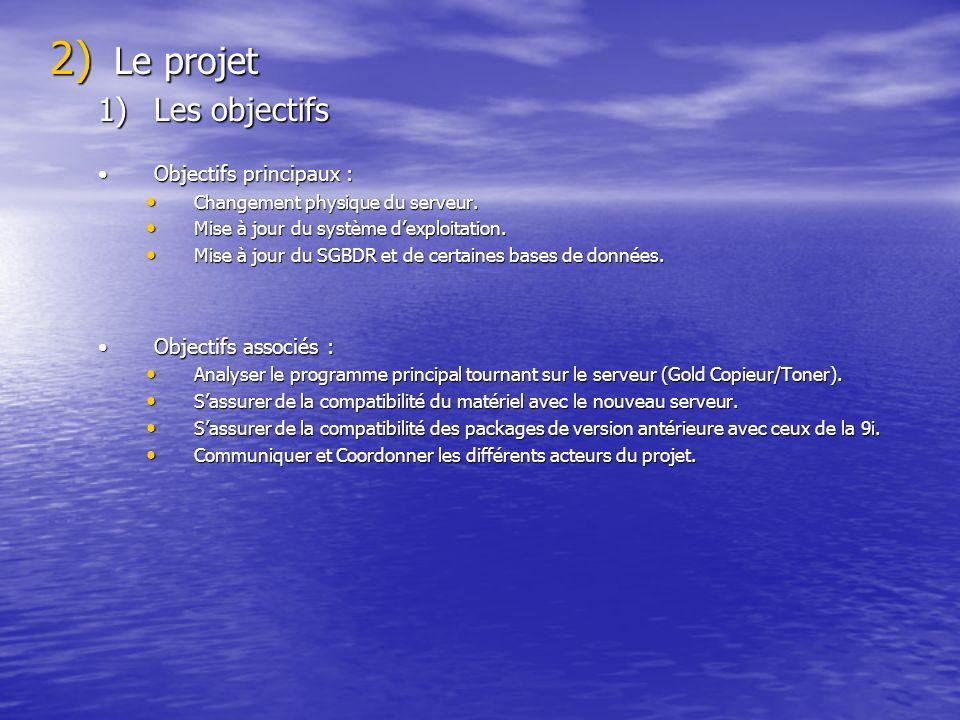 Le projet Les objectifs Objectifs principaux : Objectifs associés :