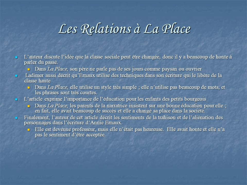 Les Relations à La Place