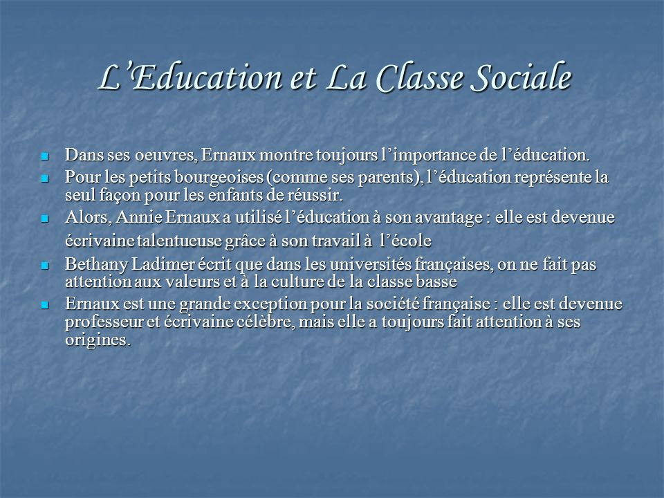 L'Education et La Classe Sociale