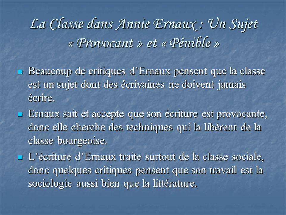 La Classe dans Annie Ernaux : Un Sujet « Provocant » et « Pénible »