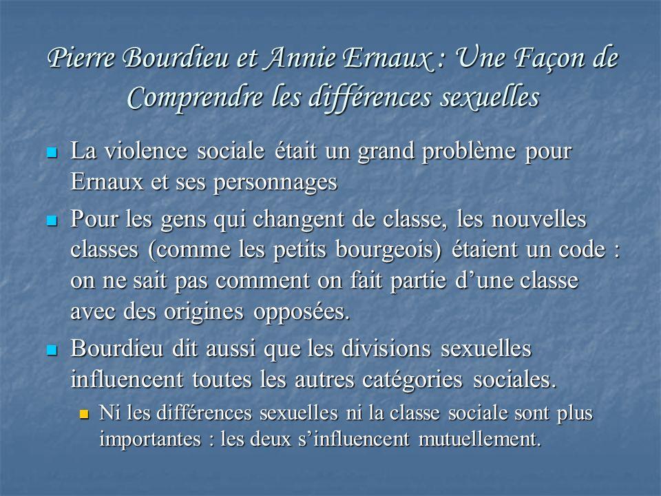 Pierre Bourdieu et Annie Ernaux : Une Façon de Comprendre les différences sexuelles