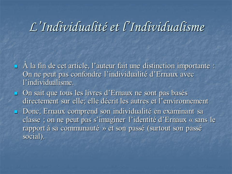 L'Individualité et l'Individualisme