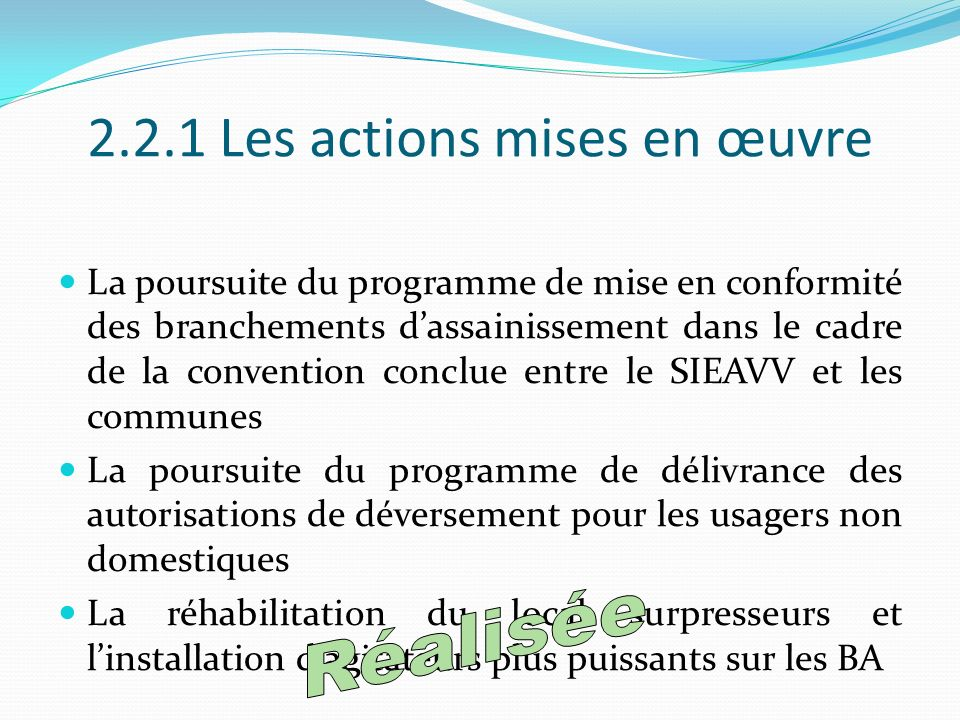 2.2.1 Les actions mises en œuvre