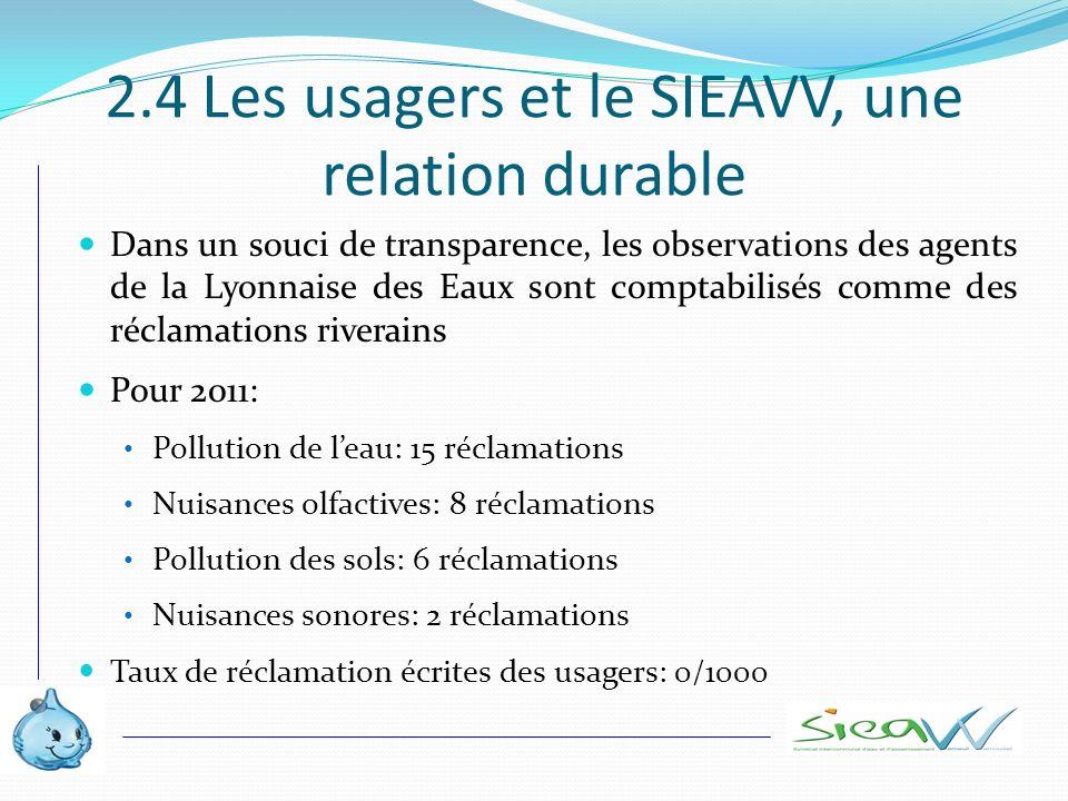 2.4 Les usagers et le SIEAVV, une relation durable