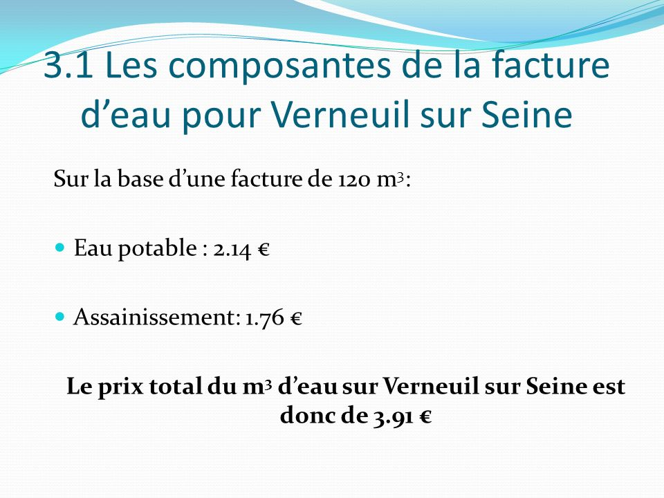 3.1 Les composantes de la facture d'eau pour Verneuil sur Seine