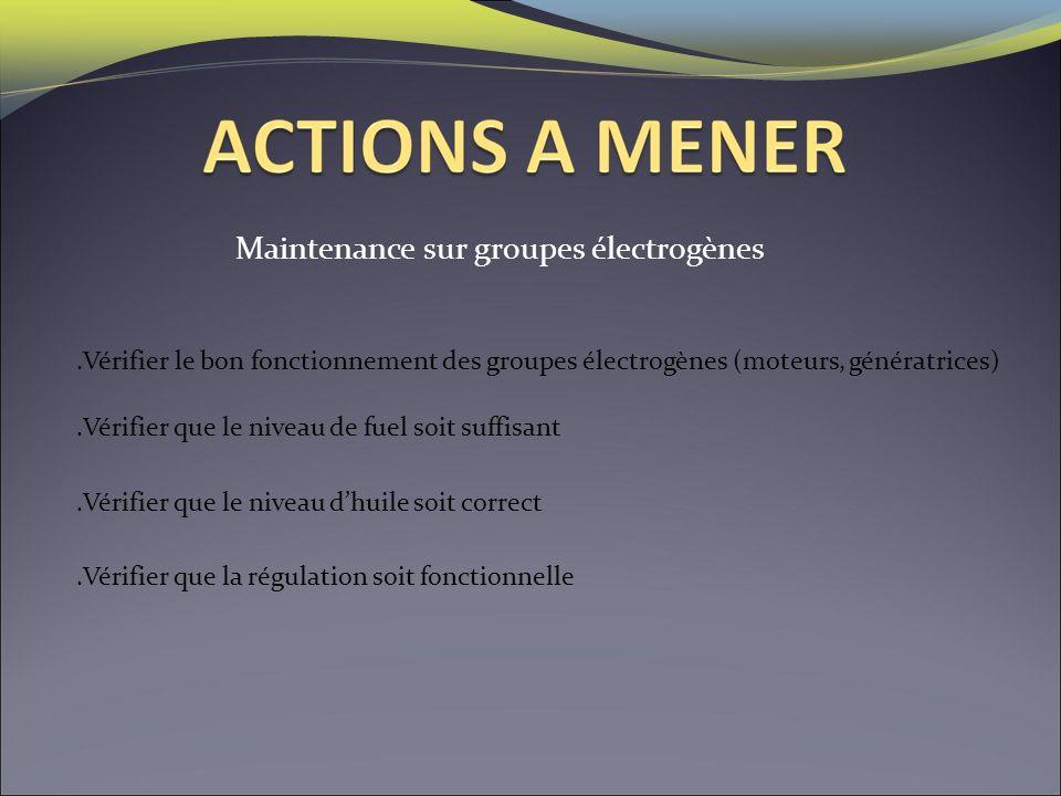 Maintenance sur groupes électrogènes