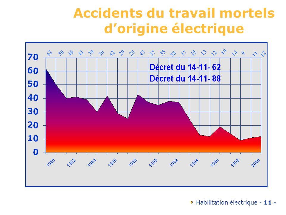 Accidents du travail mortels d'origine électrique