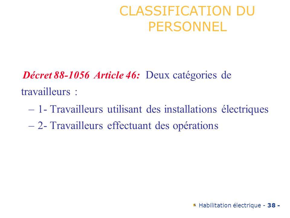 CLASSIFICATION DU PERSONNEL