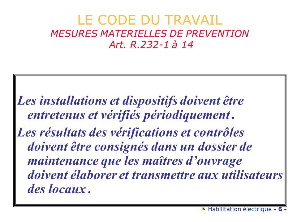 LE CODE DU TRAVAIL MESURES MATERIELLES DE PREVENTION Art. R.232-1 à 14