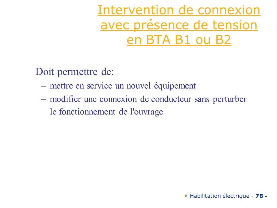 Intervention de connexion avec présence de tension en BTA B1 ou B2