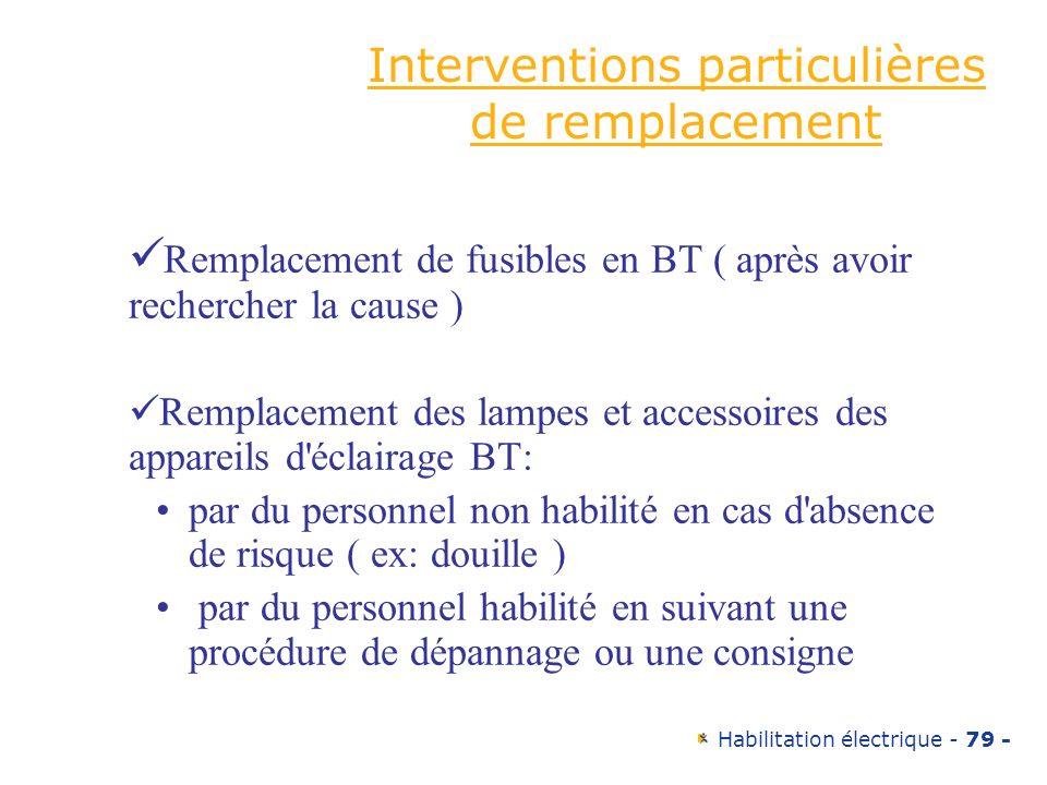 Interventions particulières de remplacement