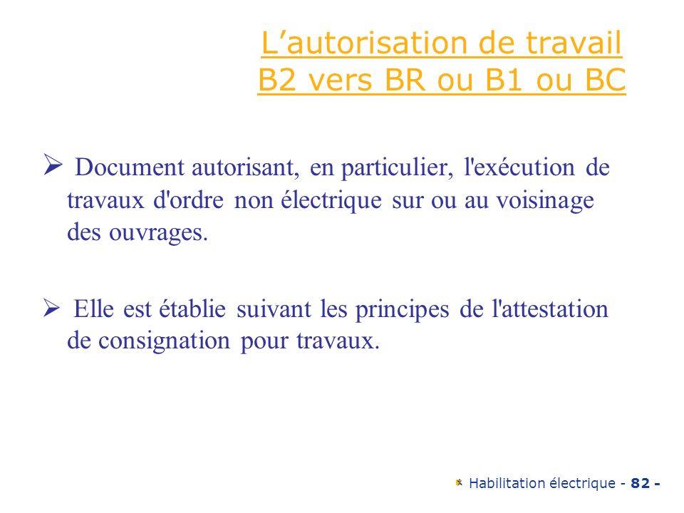 L'autorisation de travail B2 vers BR ou B1 ou BC