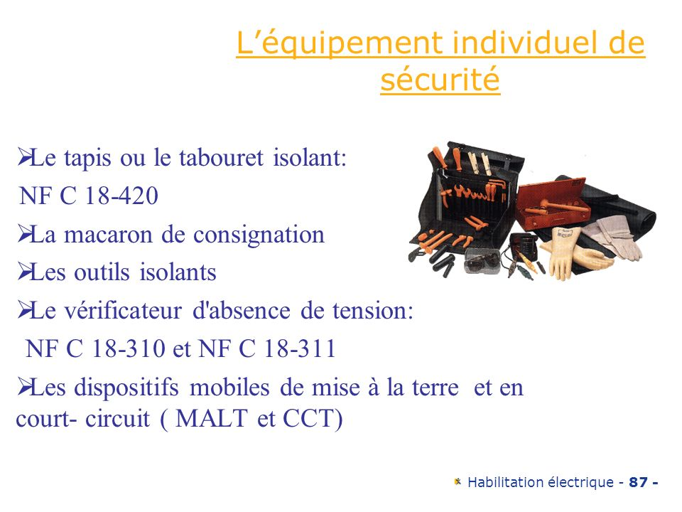 L'équipement individuel de sécurité
