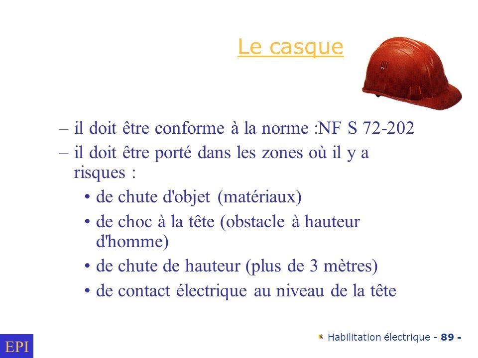 Le casque il doit être conforme à la norme :NF S 72-202