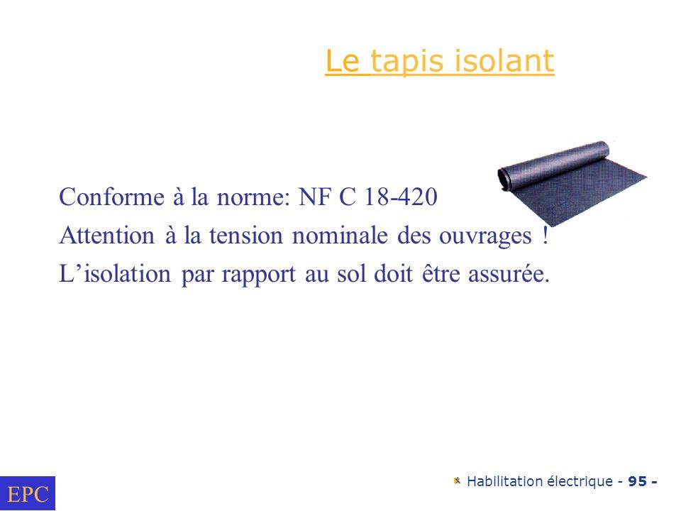 Le tapis isolant Conforme à la norme: NF C 18-420
