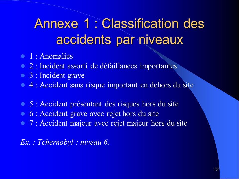 Annexe 1 : Classification des accidents par niveaux