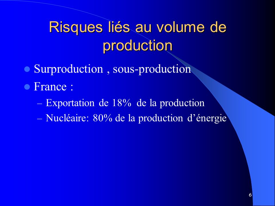 Risques liés au volume de production
