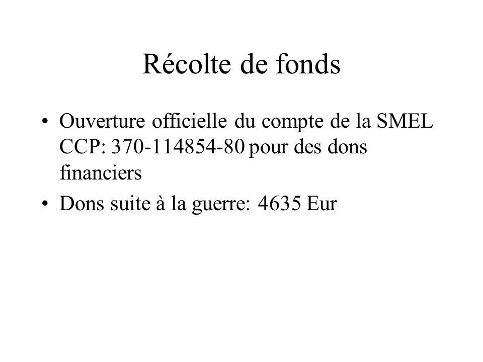 Récolte de fonds Ouverture officielle du compte de la SMEL CCP: 370-114854-80 pour des dons financiers.