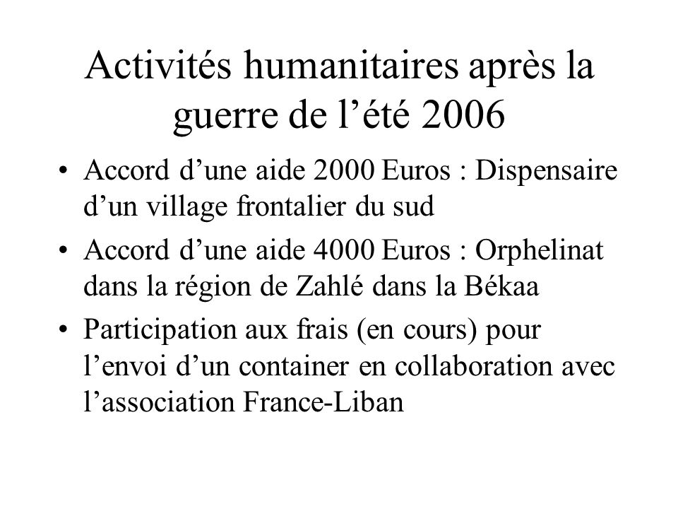 Activités humanitaires après la guerre de l'été 2006