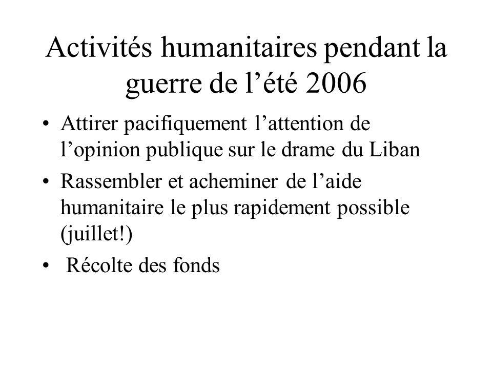 Activités humanitaires pendant la guerre de l'été 2006