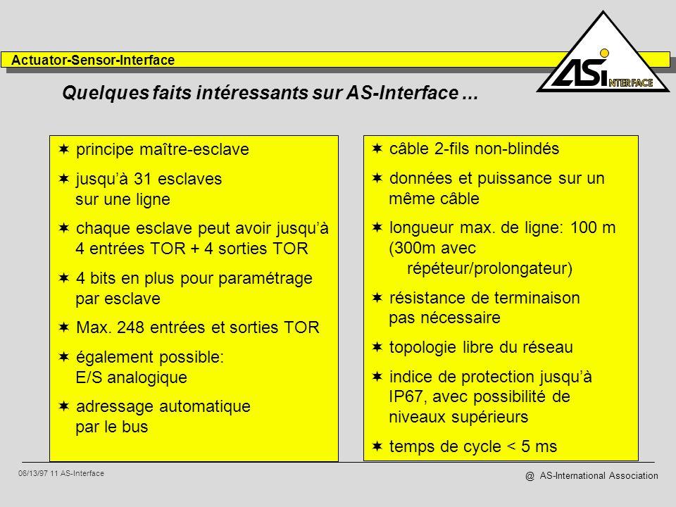 Quelques faits intéressants sur AS-Interface ...