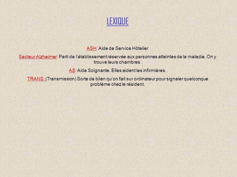 LEXIQUE ASH: Aide de Service Hôtelier
