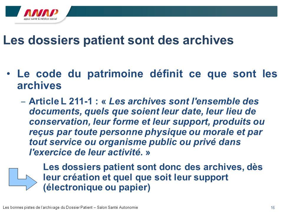 Les dossiers patient sont des archives