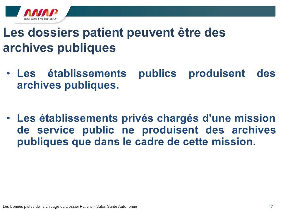 Les dossiers patient peuvent être des archives publiques