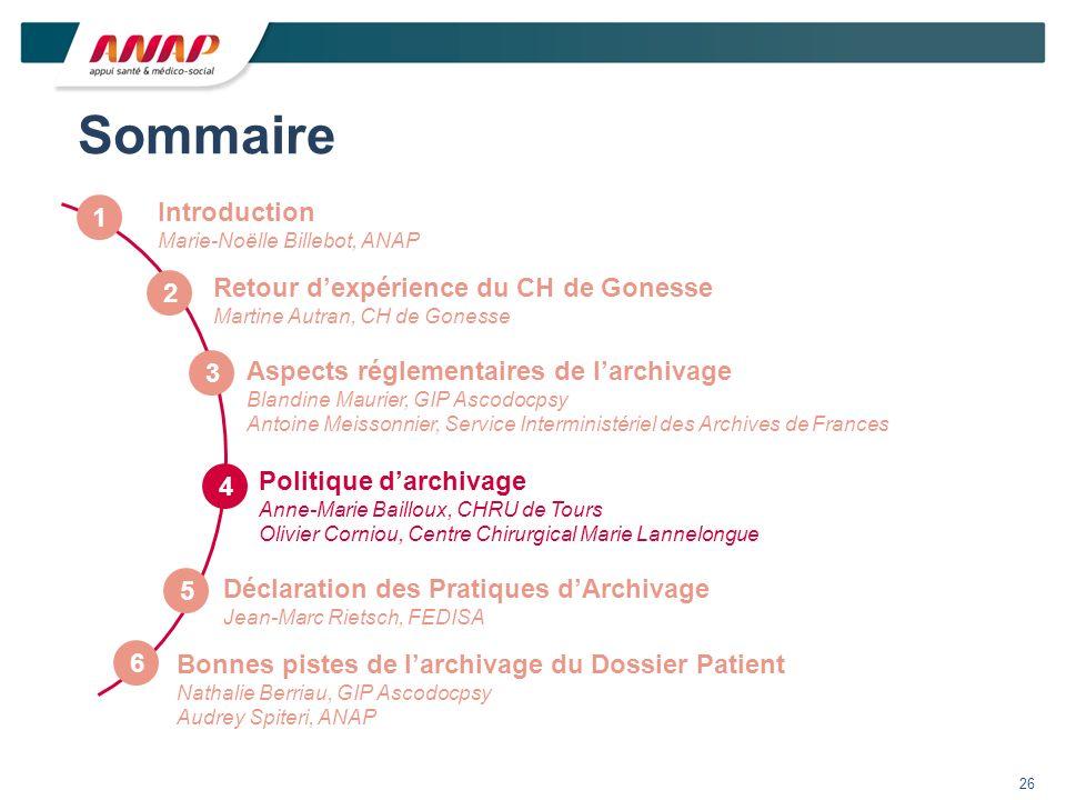 Sommaire Introduction 1 Retour d'expérience du CH de Gonesse 2 3