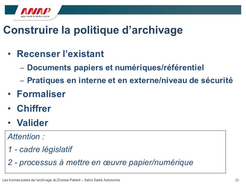 Construire la politique d'archivage