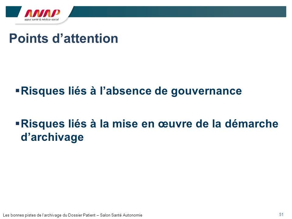 Points d'attention Risques liés à l'absence de gouvernance