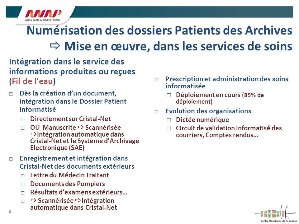 Numérisation des dossiers Patients des Archives  Mise en œuvre, dans les services de soins