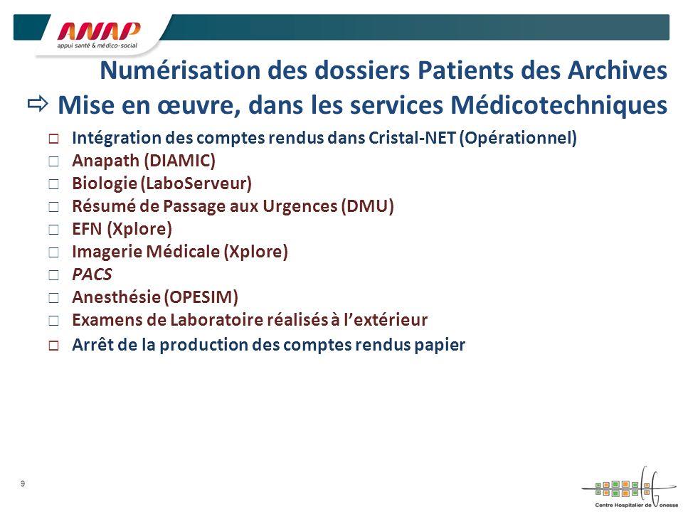 Numérisation des dossiers Patients des Archives  Mise en œuvre, dans les services Médicotechniques