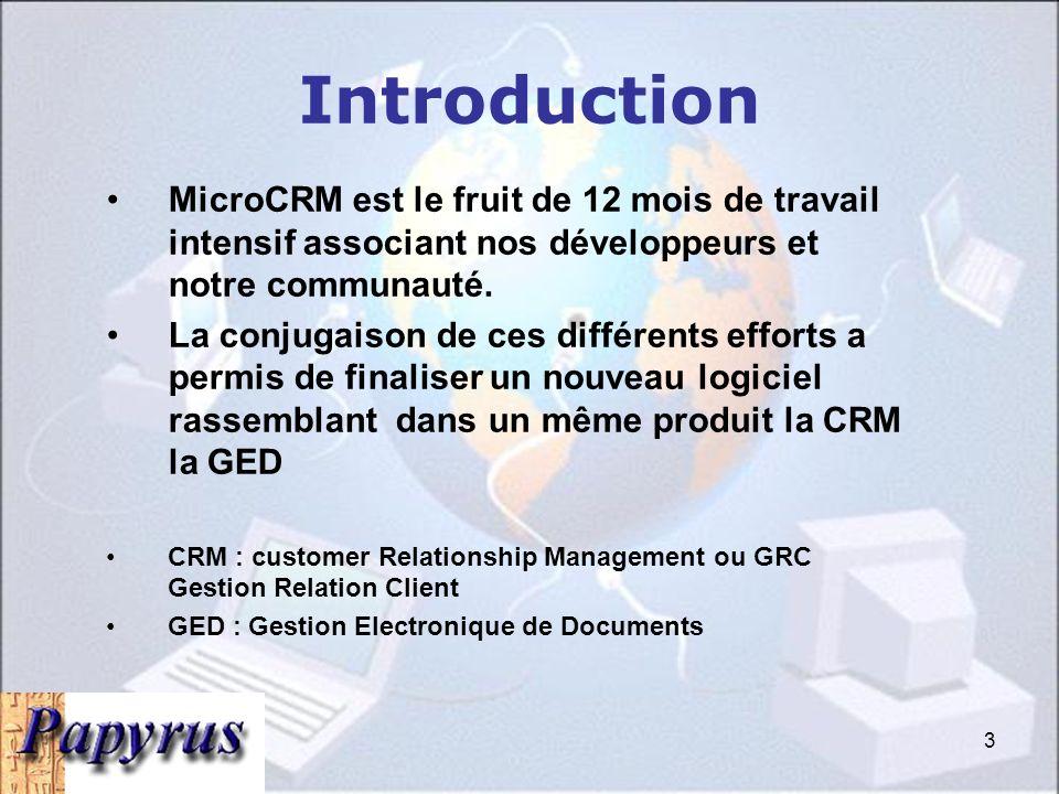 Introduction MicroCRM est le fruit de 12 mois de travail intensif associant nos développeurs et notre communauté.