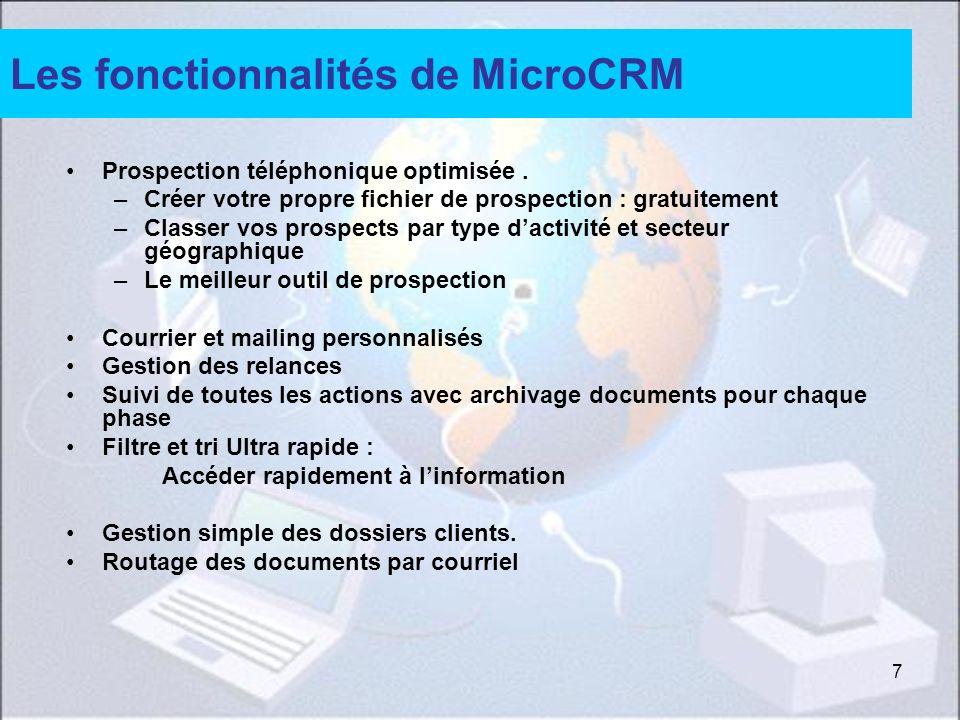 Les fonctionnalités de MicroCRM