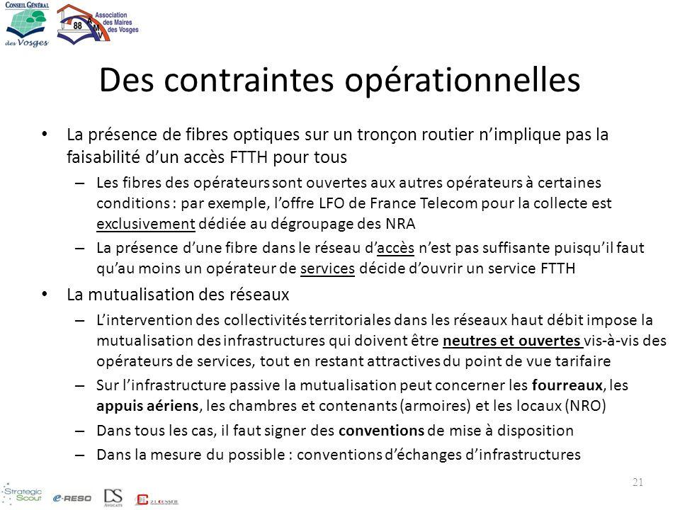 Des contraintes opérationnelles