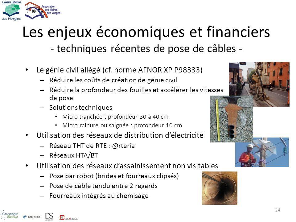 Les enjeux économiques et financiers - techniques récentes de pose de câbles -