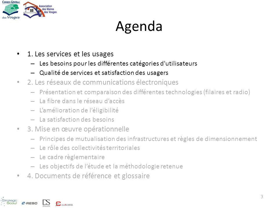 Agenda 1. Les services et les usages