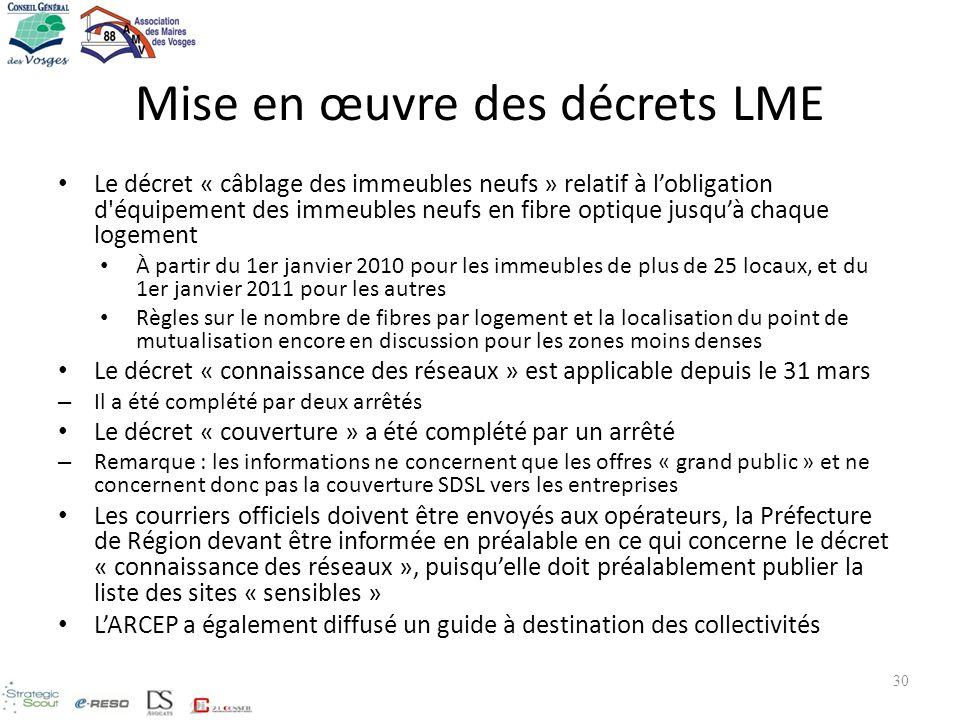 Mise en œuvre des décrets LME