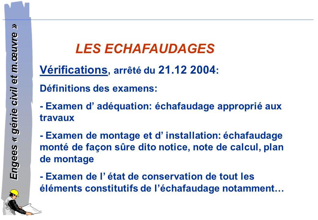 LES ECHAFAUDAGES Vérifications, arrêté du 21.12 2004: