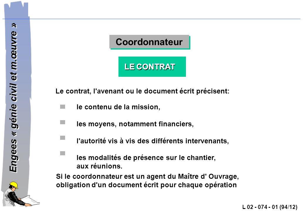 Coordonnateur LE CONTRAT
