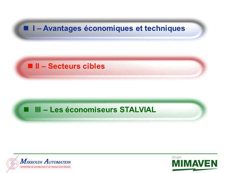 I – Avantages économiques et techniques