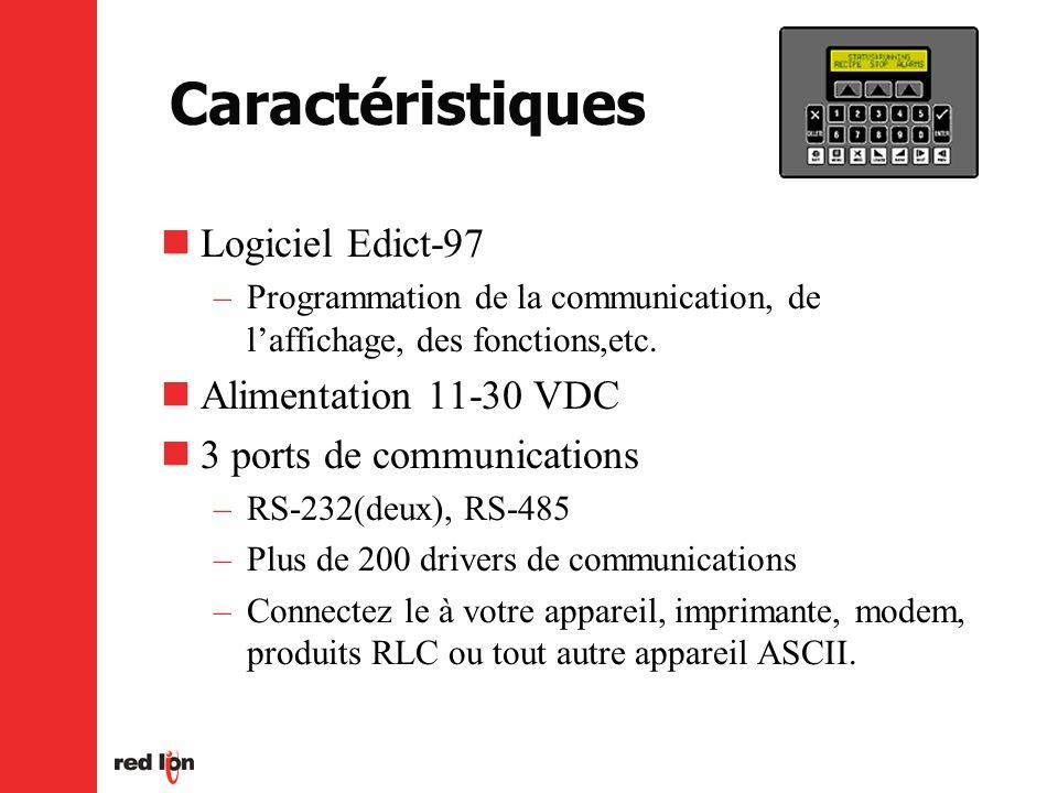 Caractéristiques Logiciel Edict-97 Alimentation 11-30 VDC