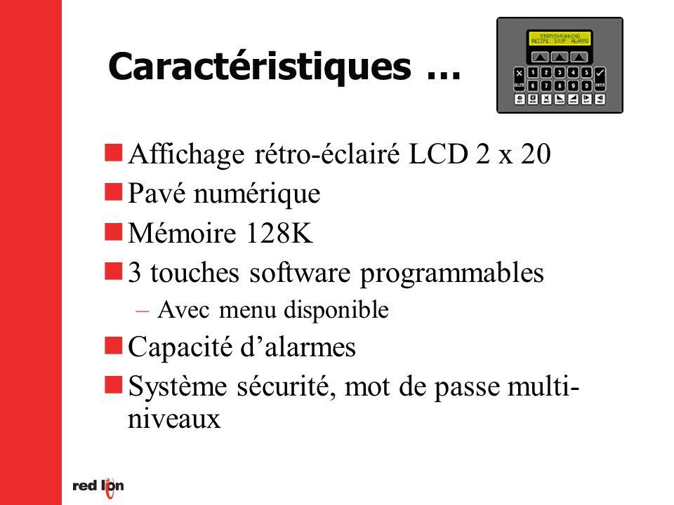 Caractéristiques … Affichage rétro-éclairé LCD 2 x 20 Pavé numérique