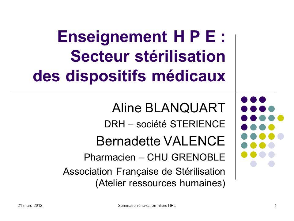 Enseignement H P E : Secteur stérilisation des dispositifs médicaux