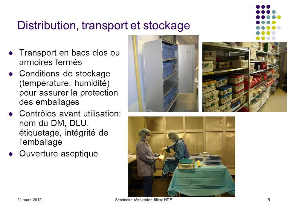 Distribution, transport et stockage